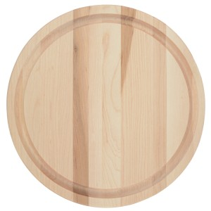 This small round cutting board with juice groove is 100% rich Canadian maple